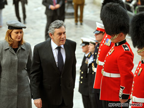 UK Prime Minister Gordon Brown and wife Sarah arrive for service marking end of combat operations in Iraq at St. Paul's Cathedral in London last week.
