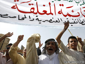 Iraqis demonstrate in Baghdad last week against plans for a closed election system.