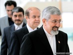 Ali Asghar Soltanieh, Iran's Ambassador to the IAEA, arrives for Monday's talks in Vienna.