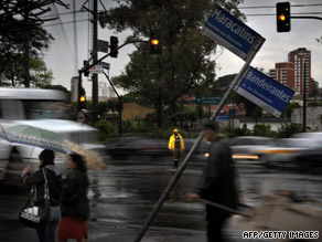 A power outage affects traffic lights in Brazil's Sao Paulo area after a heavy storm.
