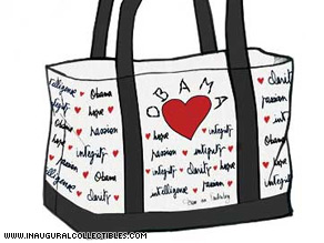 Fashion icon Diane von Furstenberg designed the Obama Love tote for the Runway to Change collection.