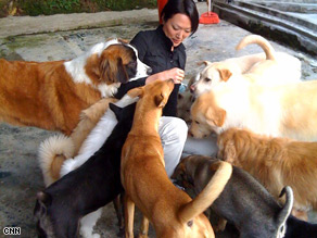 CNN's Eunice Yoon meets some of the residents at the Hong Kong Animal Adoption Center.