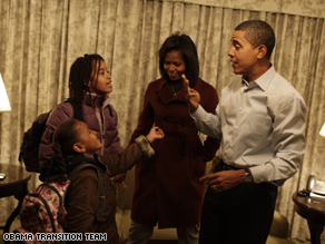 The Obama transition team has released photos of the Obama girls preparing for school Monday.
