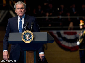 Pres. Bush paused to acknowledge applause from the audience after speaking at a military appreciation parade in Virginia Tuesday.
