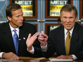 Tom Daschle and John Thune were once political adversaries, but time seems to have paved over the bitterness as the two were spotted shaking hands and patting each other on the back.