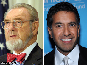 Former U.S. surgeon general C. Everett Koop and CNN's Dr. Sanjay Gupta.