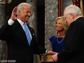 Biden was sworn in by the man he will be replacing, Vice President Dick Cheney.