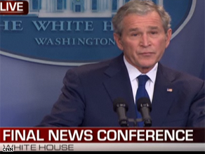 President Bush is holding his last press conference.