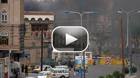 Video from Yemen TV shows burnt cars and blood on the ground following an attack on the U.S. Embassy.
