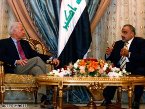 Vice President-elect Biden is meeting with Iraqi officials during a congressional trip overseas.