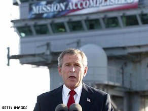 Bush delivered a speech on board the USS Abraham Lincoln in 2003.