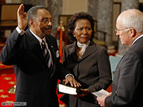 Roland Burris was sworn in to the Senate Thursday afternoon.