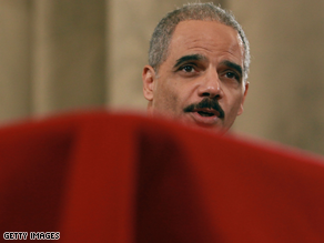 Holder is testifying before the Senate Judiciary Committee.