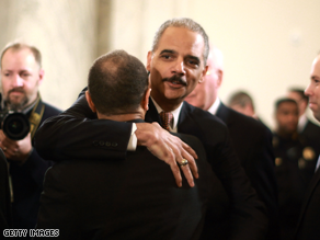 Holder is testifying on Capitol Hill.