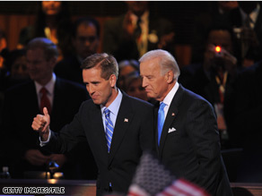 Beau Biden has returned from Iraq in order to see his father sworn in as vice president on Tuesday.