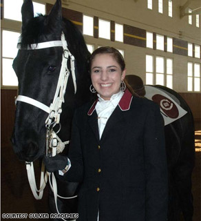 Nina Karas, a horseback rider from Culver Academies, prepares to ride in Tuesday's inaugural parade.
