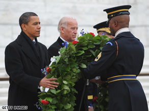 Obama and Biden visited Arlington National Cemetery Sunday.