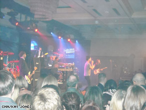 Maroon 5 performs on stage at the Declare Yourself party.