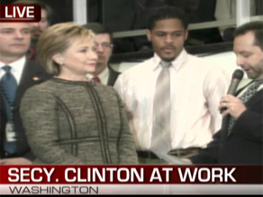 Clinton has arrived at the State Department.