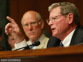 Sen. Inhofe, foreground, spoke out Monday about the president's latest executive order.
