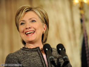 Secretary Clinton had a ceremonial swearing in as the nation's top diplomat at the State Department Monday.