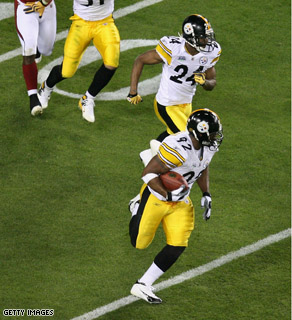 bceaf0b0e7d James Harrison of the Pittsburgh Steelers runs back an interception for 100  for a touchdown in