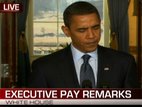 The President spoke about the economic crisis and executive compensation Wednesday.