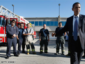 Last October, Democratic presidential nominee U.S. Sen. Barack Obama greeted firefighters in Kansas City, Missouri.