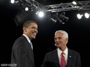 Charlie Crist has taken heat for his appearance with President Obama one year ago.