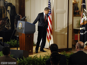 Pres. Obama steps away from the podium after his press conference on his economic stimulus plan.