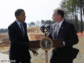Pres. Obama and Virginia Gov. Tim Kaine discussed infrastructure spending just outside Washington Wednesday.