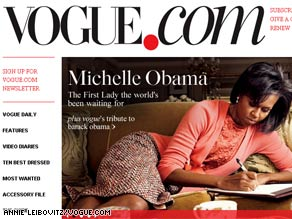 The first lady is interviewed for an article in the March issue of Vogue and is also featured on the magazine's cover.