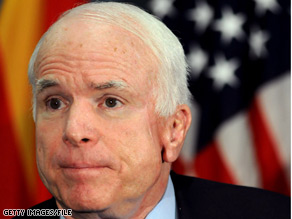 McCain's e-mail this week takes aim at congressional Democrats, though it avoids criticism of President Obama.