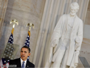 The President spoke Thursday at a congressional celebration of Lincoln's 200th birthday anniversary.