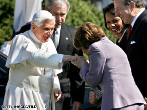 In 2008, Speaker of the House Nancy Pelosi kissed the papal ring worn by Pope Benedict XVI, pictured above. Pelosi met the pontiff Wednesday at the Vatican in a closed-door meeting following the General Audience.