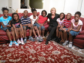 Randi Kaye with the family of octuplets in Texas.