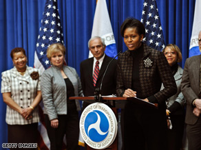 The DOT visit is the first lady's fifth and latest stop in her series of visits to government agencies.