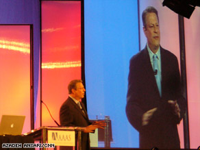Former Vice President Al Gore addresses the American Association for the Advancement of Science.