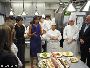 Michelle Obama invited six L'Academie de Cuisine students to attend Sunday's menu briefing, explaining the dinner's various courses and introducing them to the White House executive chef.