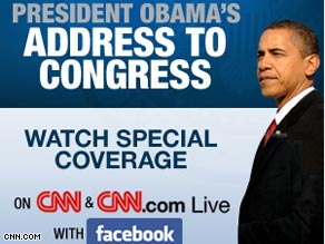 Watch the President's address live Tuesday night with your friends on Facebook courtesy of CNN.com/live.