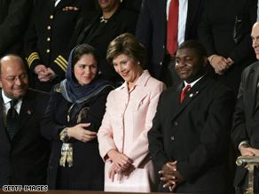Then-first lady Laura Bush stands with her guests before the 2004 State of the Union address.