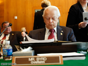 Sen. Robert Byrd developed a staph infection while being treated for another infection.