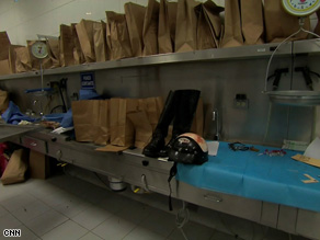 Inside the morgue - the belongings of victims killed in the violence.