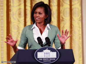 Michelle Obama spoke to roughly 1,000 EPA staffers, her latest stop in a series of visits to government agencies, thanking employees for their work and assuring them that they have &#039;unwavering support from a phenomenal president.&#039; 