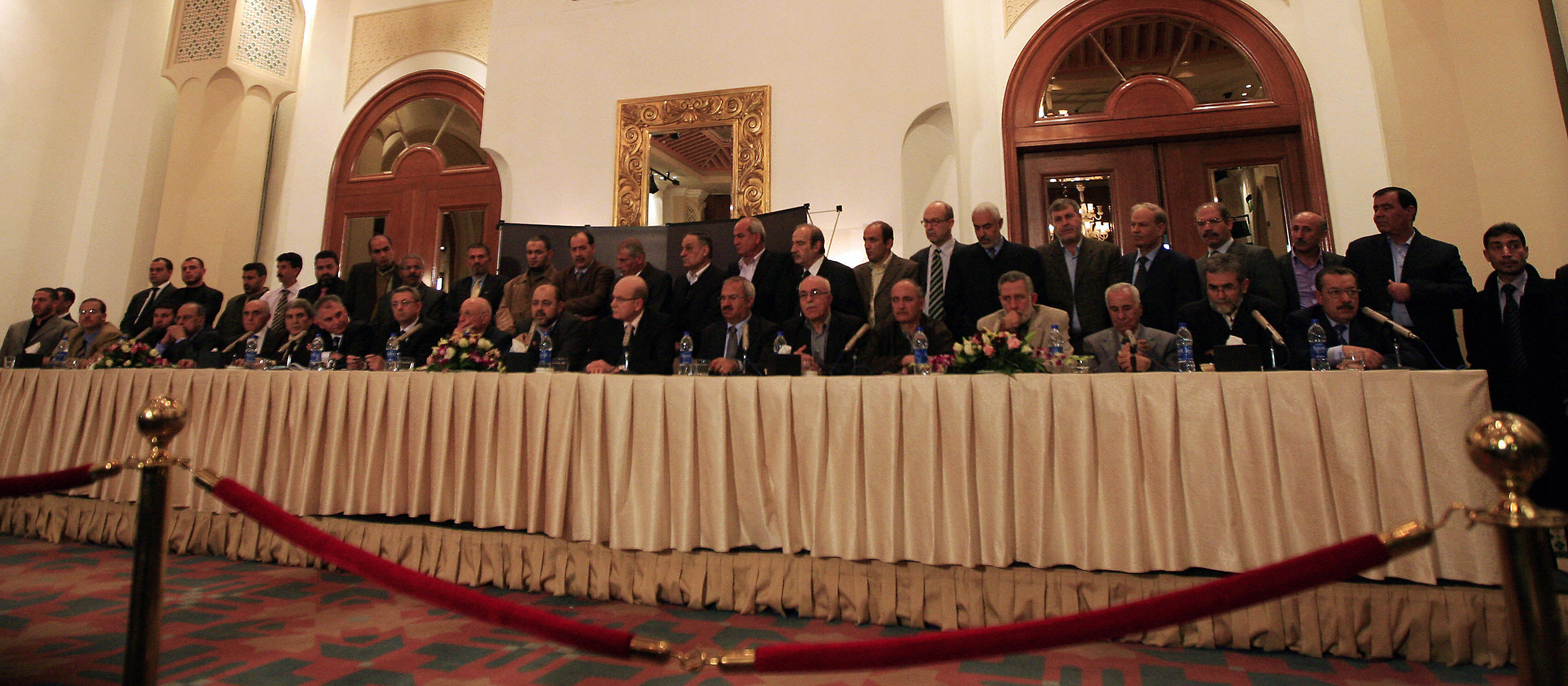 KHALED DESOUKI/AFP/Getty Images. Leaders of rival Palestinian factions discuss the results of reconciliation talks in Cairo, Egypt, on Thursday.