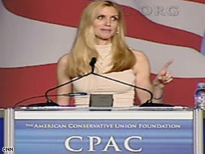 Democrats, President Obama and the media were the targets of Ann Coulter's jokes.
