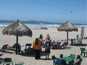 The relatively empty beaches of Rosarito, Mexico