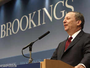 Larry Summers spoke at the Brookings Institution Friday.