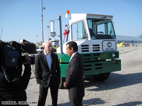 "L.A. Mayor Antonio Villaraigosa tells Anderson that electric trucks designed for container transport create more ""green"" jobs in his city and cut down on pollutants."