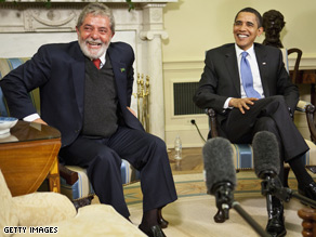 President Obama jokes with reporters in an Oval Office meeting with Brazilian President Lula da Silva on Saturday.